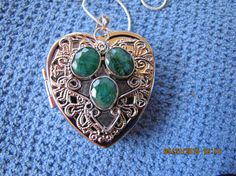 Raw Emeralds Heart Shaped Music Box Locket with Sterling Silver Necklace  - Choose from 150+ songs