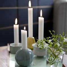 The shapes and the colours of the Candelina candle holders evoke childhood memories and unite all the Christmas traditions into a wonderful small tableau of illuminating cozy glimmer.