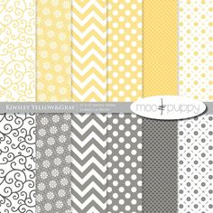 Yellow Digital Scrapbooking Paper Pack -   Kinsley Yellow and Gray  -- INSTANT DOWNLOAD