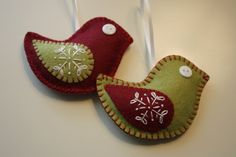 Felt+Christmas+Bird+Ornaments