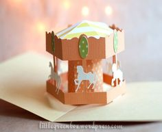 """Carousel pop-up card, part of the Circus series, at the """"Little Green Box"""".:"""