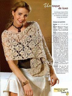 Gorgeous Shawl free crochet graph pattern