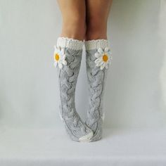 New year gift! New year gift! Valentines day or Birthday Present (any size made to order) The Knitting Socks, Knit Socks, Hand Knitting, Womens Wool Socks, Grey Socks, Winter Socks, Cute Socks, Little Fashionista, Knee High Socks