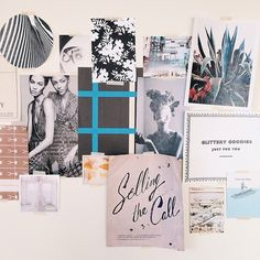 Currently on the inspo wall. Some things are old, some things are new, and several things are blue.