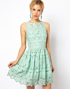 ASOS | ASOS Premium Skater Dress In Broderie With Bow Back at ASOS