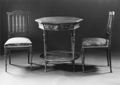 Mesa hexagonal Vintage (1830–50) Álamo, Arce, EE.UU, HD, Madera]