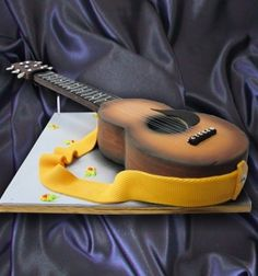 Would do a different strap and take out flowers. Add picks, capo, and strings. Music Cakes, Guitar Cake, Cupcake Cookies, Cupcakes, Different Cakes, Cakes For Men, Specialty Cakes, Novelty Cakes, Diy Cake