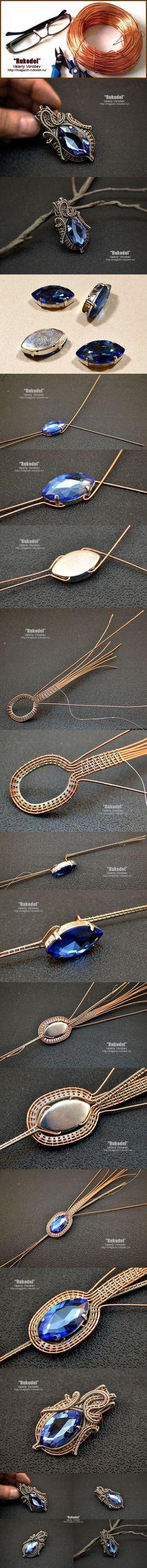 Wire wrap Pendant on Vorobev. Wire wrap tutorial. Go to the blog Rukodel - http://magazin-rukodel.ru/         #Rukodel, #Vorobev, #handmade, #wirewrap, #wirejewelry, #wirewrapped, #Jewelry, #tutorial, #WireWrapping, #Рукодел, #VikingKnit,