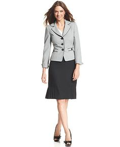 Anne Klein Blazer, Long Sleeve Button Front - Womens Suits & Suit ...