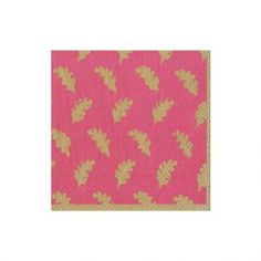 Leaves of Gold Paper Cocktail Napkins in Fuchsia - 20 Per Package
