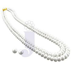 Two line button pearl set