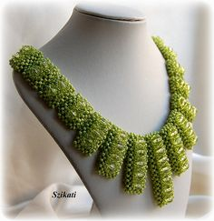 Beaded green seed bead Right Angle Weave necklace $165.00