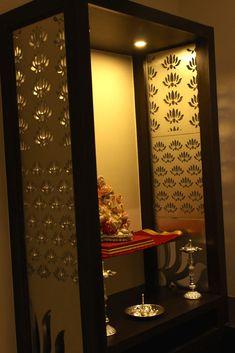 Modern Mandir Design for Home. Modern Mandir Design for Home. Modern Living Room by Homify Modern In 2019 Pooja Room Door Design, Door Design Interior, Modern Interior Design, Kitchen Interior, Interior Ideas, Kitchen Design, Living Room Partition, Room Partition Designs, H Design
