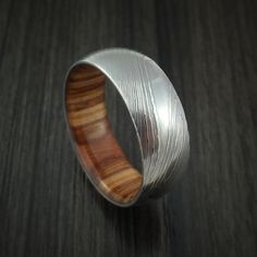 Damascus Steel Ring with Apple Wood Hardwood Interior Sleeve Custom Made