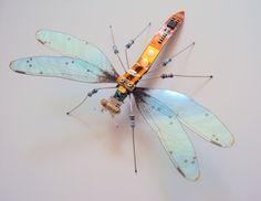 Copper and Sky Blue Circuit Board Damselfly by DewLeaf on Etsy