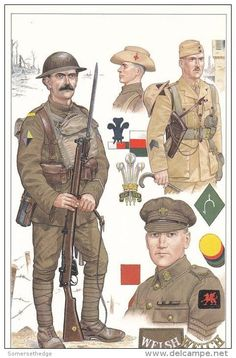 1st Welsh, 28th Division in Salonika 1917, Top right; 4-5th Welsh, 53rd Division, Second Lieutenant, Palestine 1918 & Bottom Right; 16th Welsh(City of Cardiff) 38th Division, Sergeant 1919
