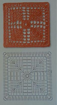 How to Crochet a Solid Granny Square Patterns and motifs: Crochete. How to Crochet a Solid Granny Square Patterns and motifs: Crocheted motif no. Point Granny Au Crochet, Granny Square Crochet Pattern, Crochet Blocks, Crochet Diagram, Crochet Chart, Crochet Squares, Crochet Stitches, Crochet Motif Patterns, Crochet Designs