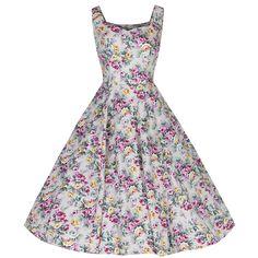 Natural Floral Cotton Sleeveless Rockabilly Dress – Pretty Kitty Fashion