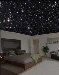 When the lights are on, or in daylight, it looks like a normal ceiling, but at night, their special paint shows an accurate night sky!  I love | http://homedesignphotoscollection.blogspot.com