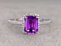 Natural 6x8mm Emerald Cut Amethyst Engagement Ring Diamond Wedding Ring 14k White Gold Halo Prong Set - BBBGEM
