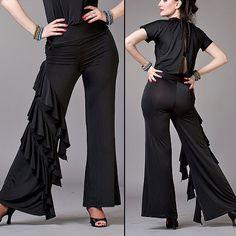 Asymmetrical Ruffle Black Salsa Pants tango pants, tango clothes [LP10_BLACK] - $117.00 : Latin dance wear, ballroom dance shoes, latin dance skirts & Salsa dresses.