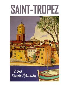 SAINT TROPEZ Travel Poster French Riviera by ArtCalifornia on Etsy