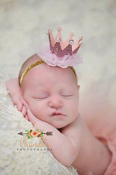 Light Pink Glitter Crown Headband Newborn by LauraLeeDesigns108