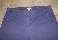 ANN TAYLOR LOFT Casual Pants Women Size 10 Navy Blue Flat Front Wide Legs #AnnTaylorLOFT #CasualPants #Sailor