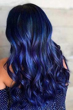 Pretty Hairstyles 68 Daring Blue Hair Color For Edgy Women.Pretty Hairstyles 68 Daring Blue Hair Color For Edgy Women Hair Dye Colors, Hair Color For Black Hair, Ombre Hair Color, Cool Hair Color, Midnight Blue Hair, Dark Blue Hair, Dyed Hair Blue, Blue Purple Hair, New Hair