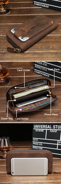 Leather Zipper Wallet For Men