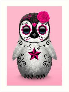 Este diseño lindo del artista Jeff Bartels cuenta con un bebé pingüino elegante con grandes ojos negros y una sola rosa en su cabeza. líneas arremolinadas y modelos de punto decoran el pequeño pájaro en la tradición del Día de los cráneos muertos del azúcar. El pingüino es sentarse con sus pies al lado de la otra y está a la espera con una mirada curiosa. La cabeza de gran tamaño y un pequeño cuerpo, junto con los detalles de las plumas peludas crean una hermosa combinación de un dibujo…