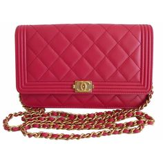 Pre-Owned Chanel Boy Bag Dark Pink Wallet on Chain WOC Gold Hardware ($3,195) ❤ liked on Polyvore featuring bags, wallets, dark pink, chanel wallet, pre owned bags, colorful wallets, chain wallet and snap bag