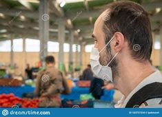 Man Wearing A Medical Mask To Prevent Covid-19 During Grocery Bazaar Shopping Stock Photo - Image of marketplace, face: 183751534 Menswear, Medical, Stock Photos, Portrait, Face, How To Wear, Shopping, Headshot Photography, Medicine
