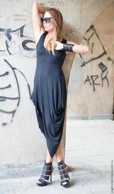 Купить Черное платье Очарование - черный, однотонный, платье, Платье нарядное, платье летнее