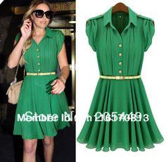Free Shipping,Hot Women Celebrity Style Short Knee-length Casual Chiffon Dress Free Belt US S,M,L,XL US $17.55