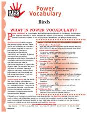 Free Download! 16-page printable Vocabulary Packet for Kids Discover Birds