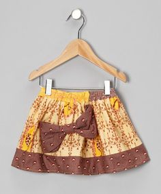 Take a look at this Marigold & Maroon Bow Skirt - Infant, Toddler & Girls by Maggie Bogart on #zulily today!