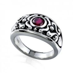 Red Corundum & Sterling Silver Ladies Ring In Magic World