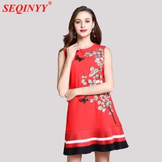 Retro Red Noble Women Dress 2018 Spring Summer New Arrival Sleeveless A-Line Cultivate Exquisite Embroidery Pleated Mini Dresses Mini Dresses, Summer Dresses, Sport Wear, Spring Summer, Fashion Outfits, Embroidery, Retro, Printed, Formal
