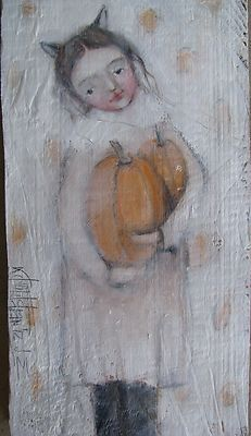 Sweet, sweet, sweet! Just in time for Fall Harvest Celebration! She and other cuties are on eBay, FadedWest art by Karen Milstein.