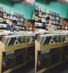 Dan at a local record store in Portland>>I can't help but feel that these pics were taken by a stormer loosing their shit and hiding behind a row of CDs while stealthily taking an ass ton of pics XD<<omg most likely!!