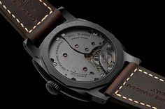 The @paneraiofficial Radiomir 1940 3 Days Ceramica -(caseback shown) comes on an untreated leather brown strap, with hand-sewn contrast stitching, and fastened by a trapezoidal buckle, which, like the caseback, is made of non-allergenic titanium with DLC coating that matches the hue of the case. #panerai #watchtime #luxurywatch #menswatches