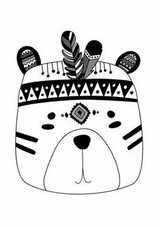 Set of 3 Boys Monochrome Tribal Nursery Prints. Fox, Bear Set of 3 Boys Monochrome Tribal Nursery Pr Desenho Kids, Tribal Animals, Tribal Nursery, Baby Posters, Quilt Labels, Baby Drawing, Punch Art, Nursery Prints, Art Plastique