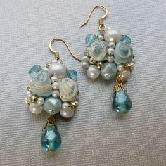 Vintage Dangle Earrings, Repurposed Jewelry,  via Etsy.