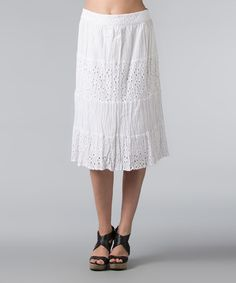Look what I found on #zulily! White Eyelet Tiered A-Line Skirt - Women by Vasna #zulilyfinds