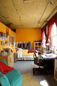 A Shared, Real-Deal Artist's Loft in Chicago House Tour: An Artistic Loft for. A Shared, Real-Deal Small Room Bedroom, Bedroom Loft, Trendy Bedroom, Bedroom Colors, Bedroom Apartment, Apartment Therapy, Loft Room, Bedroom Ideas, Warm Bedroom
