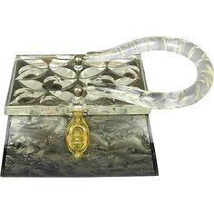 Vintage RIALTO Lucite Pearlized Gray / Clear Handbag Purse at www.rubylane.com #rialtopurses  #vintagepurses  #50shadesofgrey