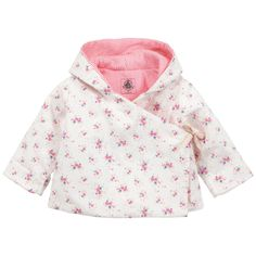 Hooded jacket made of flower-printed seersucker cotton Printed ribbed cotton knit lining. Quilted padding. Crossover front with a braided string to tie on the side. Long sleeves. - 50,00 €