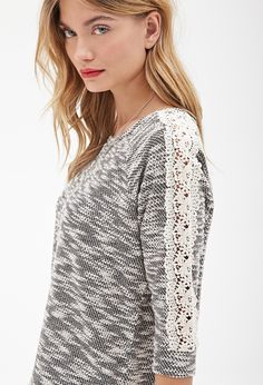 Crochet-Trimmed Bouclé Sweater #F21StatementPiece