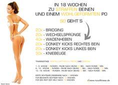 In 18 Wochen zu Straffen Beinen und einem Wohlgeformten Po.  Maximale Fettverbrennung: http://www.amazon.de/gp/product/B00HFN7MQK?*Version*=1&*entries*=0